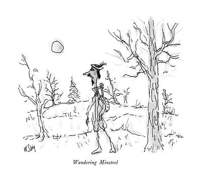 Lute Drawing - Wandering Minstrel by William Steig