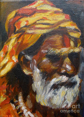 Cadmium Red Painting - Wandering Sage Small by Mukta Gupta
