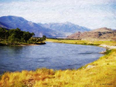 Bucolic Scenes Digital Art - Wandering Water by Jo-Anne Gazo-McKim
