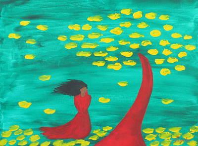Wandering Woman In The Wind Art Print