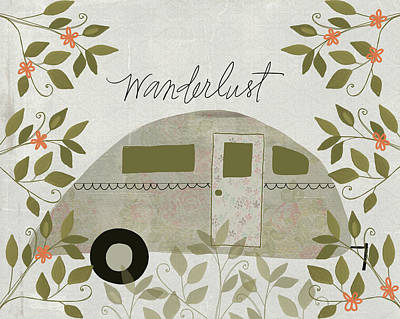 Airstream Painting - Wanderlust by Katie Doucette
