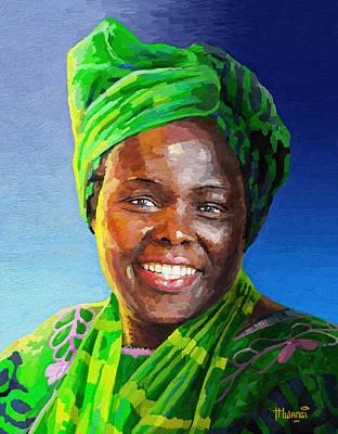 Africa Painting - Wangari Maathai by Anthony Mwangi