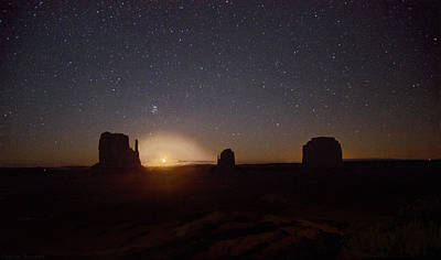 Photograph - Waning Crescent Moonrise Monument Valley by Steven Barrows