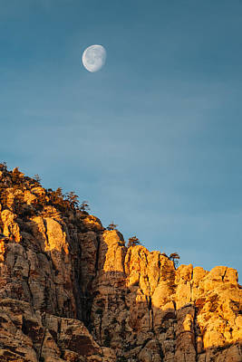 Waning Gibbous Moon Over The Craggy Peaks Of Red Rock Canyon Art Print