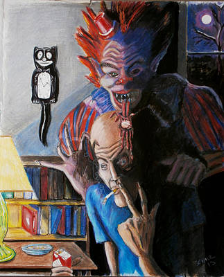 Evil Clown Painting - Wanna Smoke by Chris Benice
