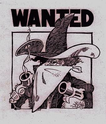 Six Shooter Drawing - Wanted by Dale Michels