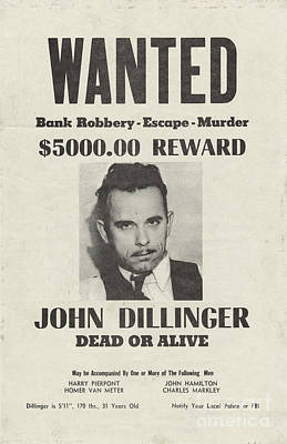 Bank Robber Painting - Wanted Dead Or Alive Poster by Pg Reproductions