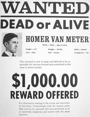 Police Van Painting - Wanted Poster For Homer Van Meter by American School