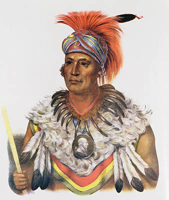 Medallion Photograph - Wapella Or The Prince Chief Of The Foxes, 1837, Illustration From The Indian Tribes Of North by Charles Bird King