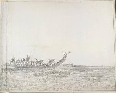 Canoe Photograph - War Canoe Of Tahiti by British Library