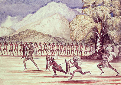 Tribal Photograph - War Dance, Illustration From The Albert Nyanza Great Basin Of The Nile By Sir Samuel Baker, 1866 Wc by Sir Samuel Baker