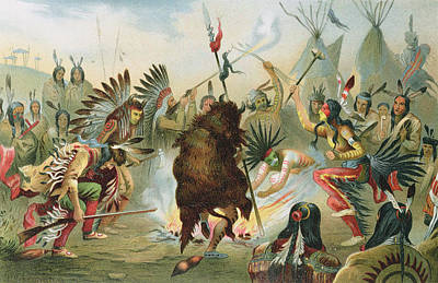 Ritual Photograph - War Dance Of The Sioux, From The History Of Mankind By Prof. Friedrich Ratzel, Pub. In 1904 Litho by Rudolf Cronau