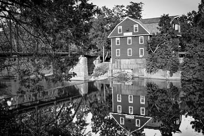 Photograph - War Eagle Mill And Bridge Black And White by Gregory Ballos