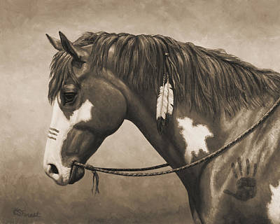 Native American War Horse Painting - War Horse Aged Photo Fx by Crista Forest