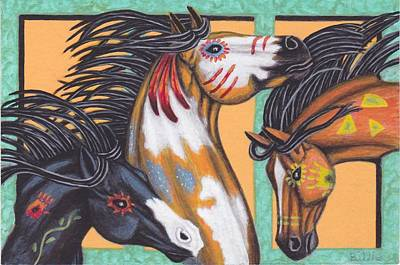 Painting - War Horse Family by Billie Bowles