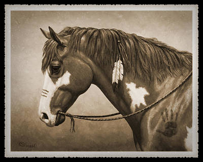 Native American Horse Painting - War Horse Old Photo Fx by Crista Forest