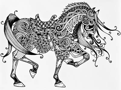 Animals Drawings - War Horse - Zentangle by Jani Freimann