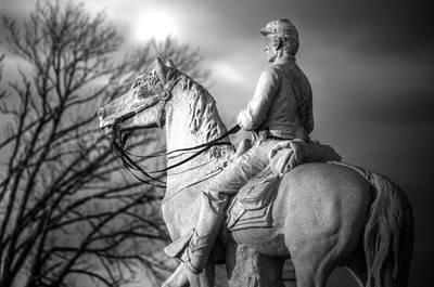 War Horses - 8th Pennsylvania Cavalry Regiment Pleasonton Avenue Sunset Autumn Gettysburg Art Print by Michael Mazaika