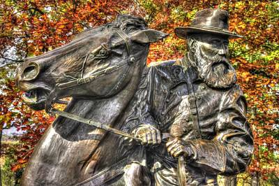 War Horses - Lieutenant General James Longstreet-a1 Commanding First Corps Autumn Gettysburg Art Print by Michael Mazaika