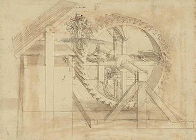 Da Vinci Reproductions Drawing - War Machine Composed Of Big Wheel With 44 Steps Set In Motion By Weight Of Ten Men And By Soldier by Leonardo Da Vinci