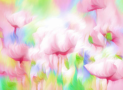 Floral Digital Art - War Of The Pink Winds  by Georgiana Romanovna