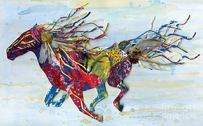 Emu Mixed Media - War Pony by Shirley Robinett