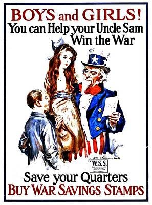 Photograph - War Poster - Ww1 - Help Uncle Sam by Benjamin Yeager