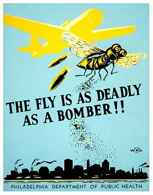 Photograph - War Poster - Ww2 - Beware The Fly by Benjamin Yeager