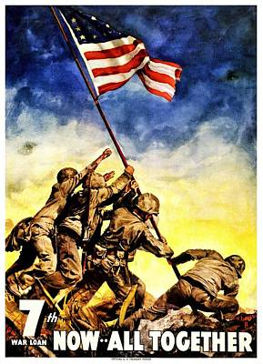 Recruiting Photograph - War Poster - Ww2 - Iwo Jima by Benjamin Yeager