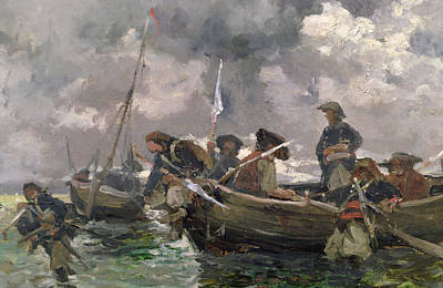 War Scene At Sea Art Print