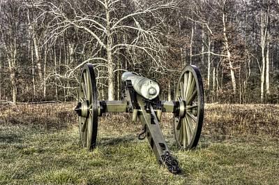 Art Print featuring the photograph War Thunder - 1st New York Light Artillery-a2 Battery D The Wheatfield Late Winter Gettysburg by Michael Mazaika