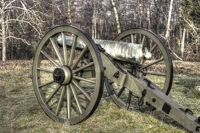 Art Print featuring the photograph War Thunder - 1st New York Light Artillery-c1 Battery D The Wheatfield Late Winter Gettysburg by Michael Mazaika
