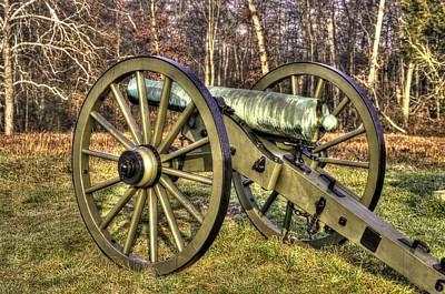 Art Print featuring the photograph War Thunder - 1st New York Light Artillery-c2 Battery D The Wheatfield Late Winter Gettysburg by Michael Mazaika