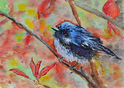 Titmouse Painting - Warbler by Beverley Harper Tinsley