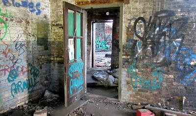 Photograph - Warehouse Brick Wall W Doors 2 by Anita Burgermeister