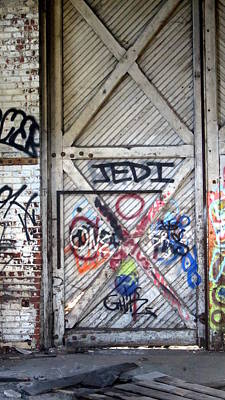 Photograph - Warehouse Door Graffiti Jedi by Anita Burgermeister