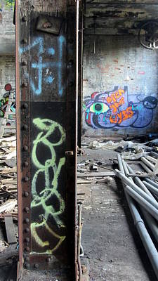 Photograph - Warehouse Graffiti Eyes 1 by Anita Burgermeister