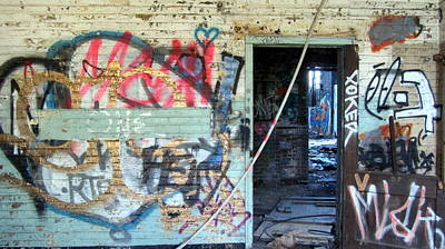Photograph - Warehouse Graffiti In Blue With Doors by Anita Burgermeister