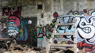 Photograph - Warehouse Graffiti Smurf 1 by Anita Burgermeister