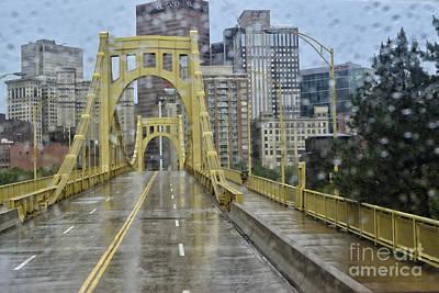Yellow Bridge Digital Art - Warhol In The Rain by Thomas R Fletcher