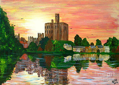 Amble Painting - Warkworth Sunset by BJ Wight