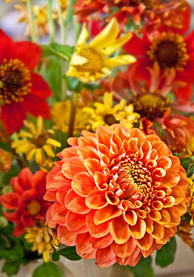 Photograph - Warm Colored Flower Bouquet With Round Dahlia by Valerie Garner