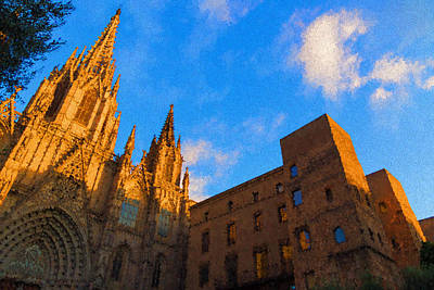 Digital Art - Warm Glow Cathedral - Impressions Of Barcelona by Georgia Mizuleva