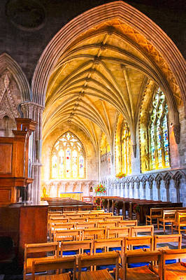 Photograph - Warm Golden Glow In A Side Chapel At St Albans Abbey by Mark E Tisdale