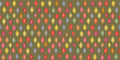 Fall Drawing - Warm Little Ikat Diamonds by Sharon Turner