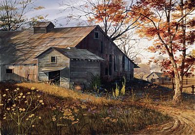 Barn Landscape Painting - Warm Memories by Michael Humphries
