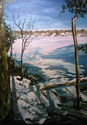 Painting - Warm Snow In The Sassaquin Pond-neighborhood by Ray Khalife