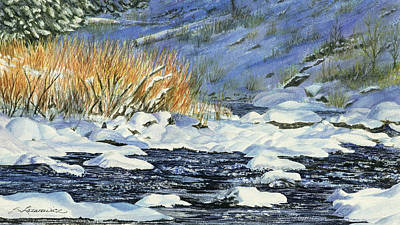 Snowy Brook Painting - Warm Sun On The Winter Willows by Sharon Lazarowicz