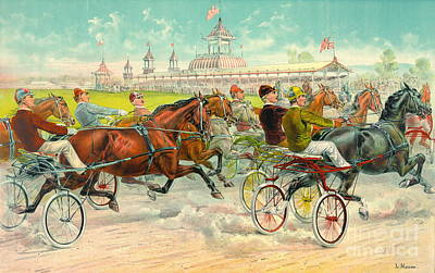 Harness Racing Photograph - Warm-up Lap 1893 by Padre Art