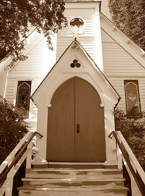 Photograph - Warm Welcome At St. Paul's Port Townsend In Sepia by Connie Fox